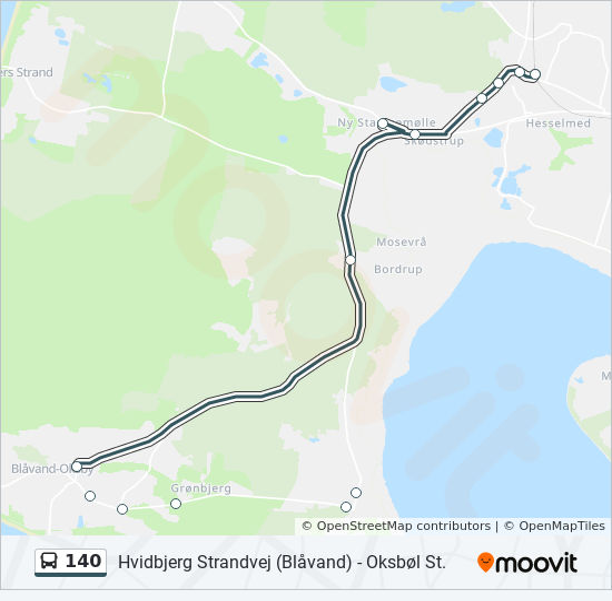 140 Rute Koreplaner Stoppesteder Kort Hvidbjerg Strandvej