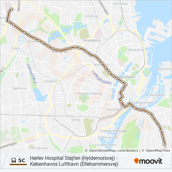 5c Route Time Schedules Stops Maps Herlev Hospital