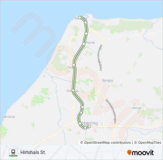 Karta Danmark Hirtshals.76 Rutt Tidsschema Stopp Kartor Hirtshals St