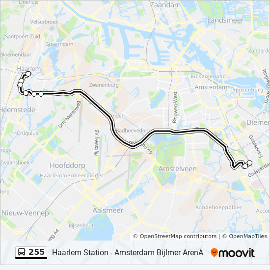 255 Route: Time Schedules, Stops & Maps - Haarlem Station
