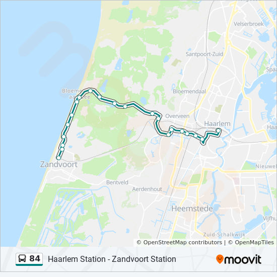 84 Route: Time Schedules, Stops & Maps - Haarlem Station Via ...
