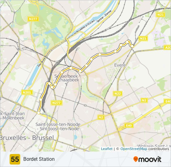 55 Route: Time Schedules, Stops & Maps - Bordet Station