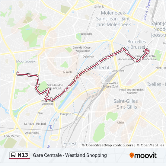 N13 Route: Time Schedules, Stops & Maps