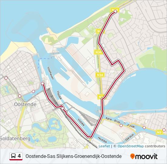 4 Route Dienstregeling Haltes Kaarten Oostende Sas Slijkens