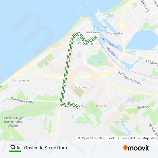 5 Route Time Schedules Stops Maps Oostende Station Stene Dorp