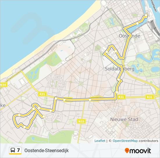 7 Route Dienstregeling Haltes Kaarten Oostende Station