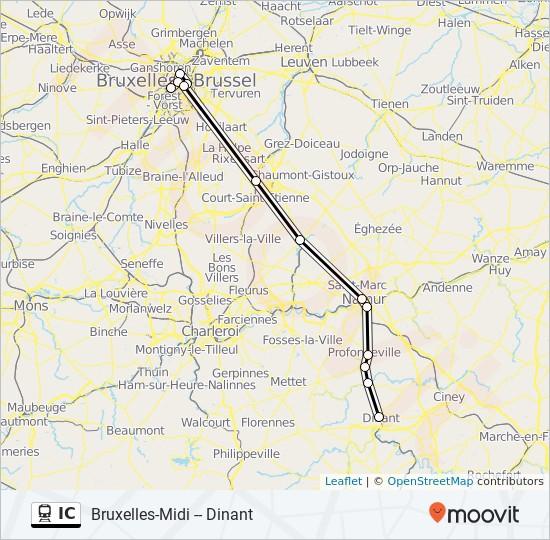 Carte Belgique Dinant Environs.Ligne Ic Horaires Stations Plans Bruxelles Midi Dinant