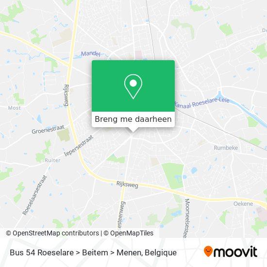 Bus 54 Roeselare > Beitem > Menen kaart