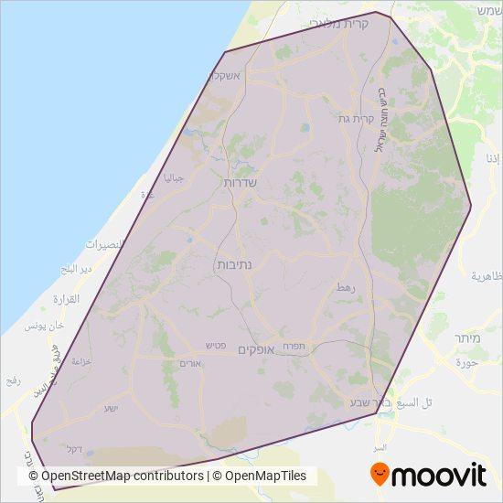 מפת אזורי הפעילות של דן בדרום (Dan Badarom)
