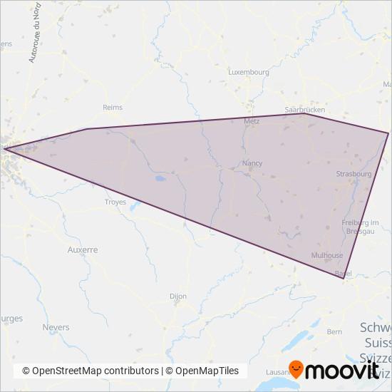 Mapa da área de cobertura da SNCF