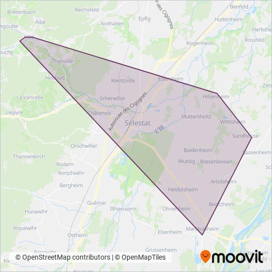 Mapa da área de cobertura da Fluo Grand Est
