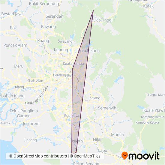 Peta kawasan liputan Aerobus