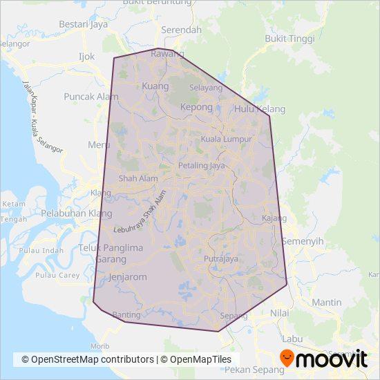 Peta kawasan liputan Smart Selangor (operated by rapidKL)