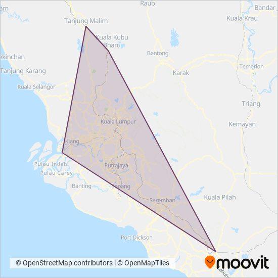 Peta kawasan liputan Keretapi Tanah Melayu - KTM