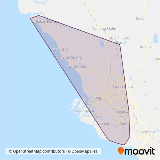 Peta kawasan liputan Smart Selangor