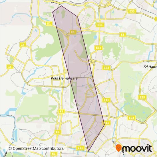 Peta kawasan liputan PJ City Bus