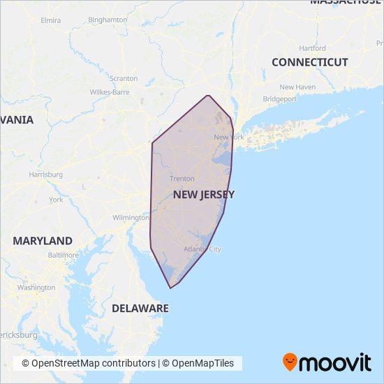 NJ Transit coverage area map