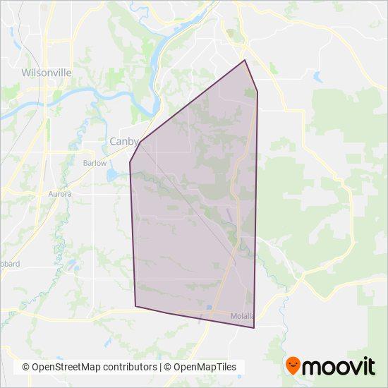 Mapa da área de cobertura da South Clackamas Transportation District