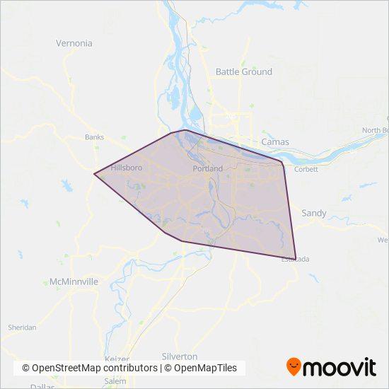 Mapa da área de cobertura da TriMet
