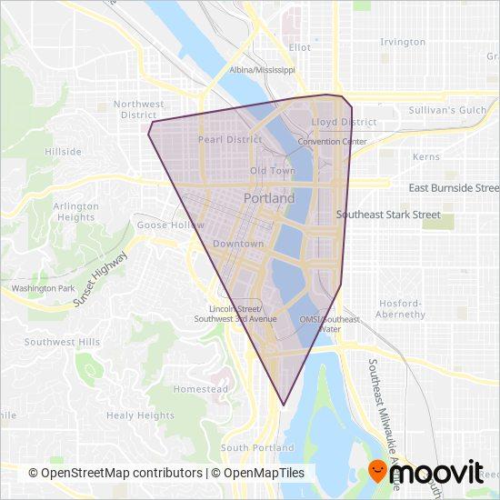 Mapa da área de cobertura da Portland Streetcar