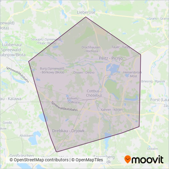 Cottbusverkehr coverage area map