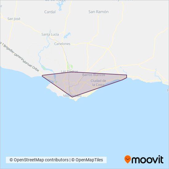 Mapa del área de cobertura de Cutcsa