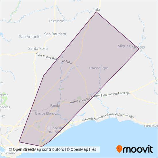 Mapa del área de cobertura de TPM