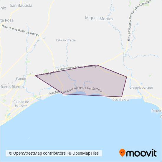 Mapa del área de cobertura de Satt