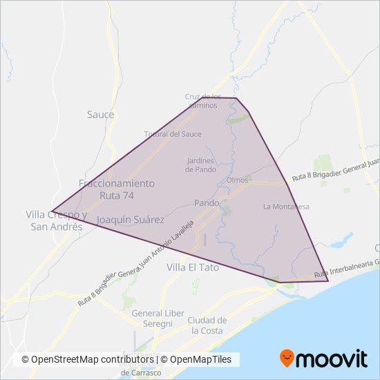 Mapa del área de cobertura de Rutas Del Norte