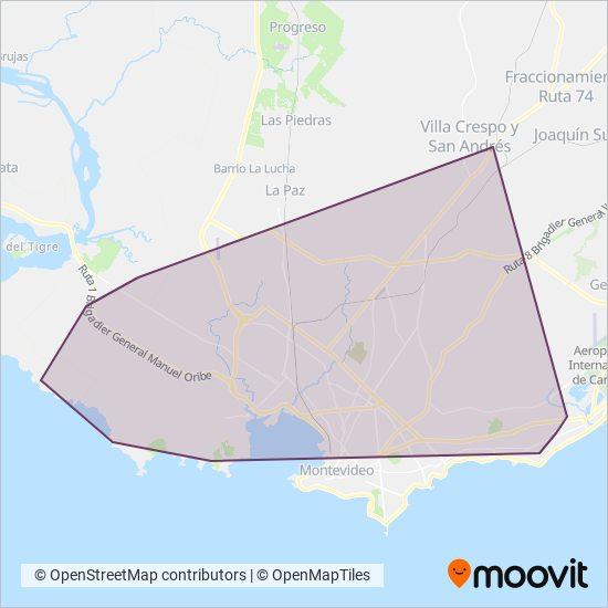Mapa del área de cobertura de Locales