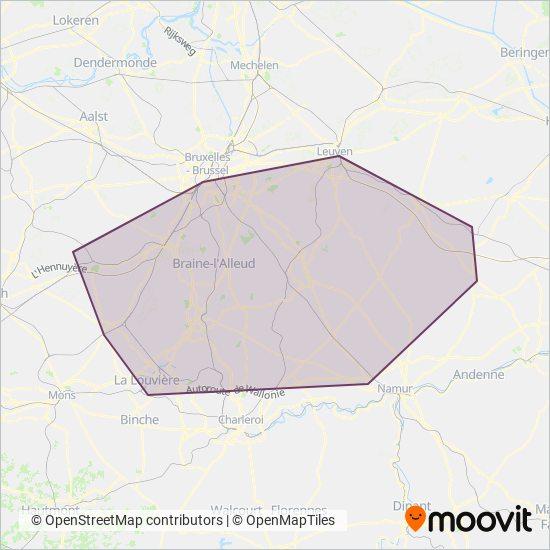 Mapa del área de cobertura de TEC Brabant Wallon
