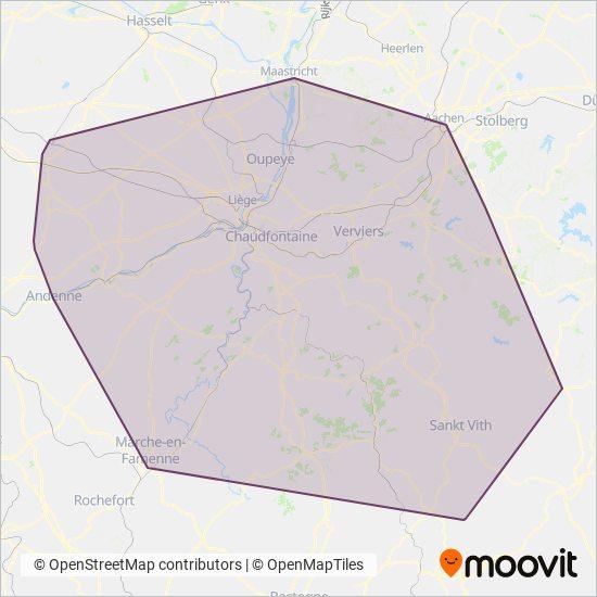 Mapa del área de cobertura de TEC Liège - Verviers