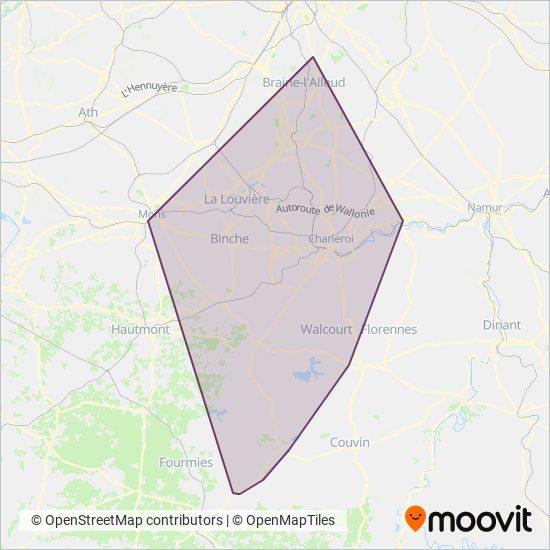 Mapa del área de cobertura de TEC Charleroi