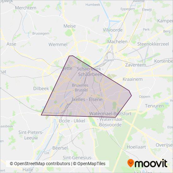 Mapa del área de cobertura de STIB
