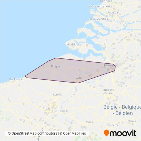 Mapa del área de cobertura de De Lijn