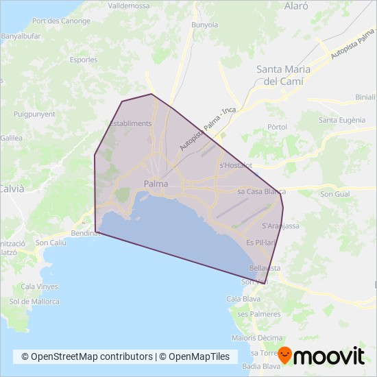 Cobertura del mapa de EMT Palma