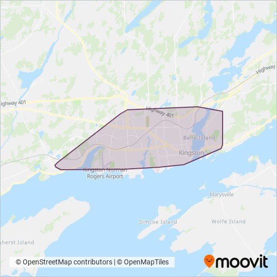 Mapa del área de cobertura de Kingston Transit