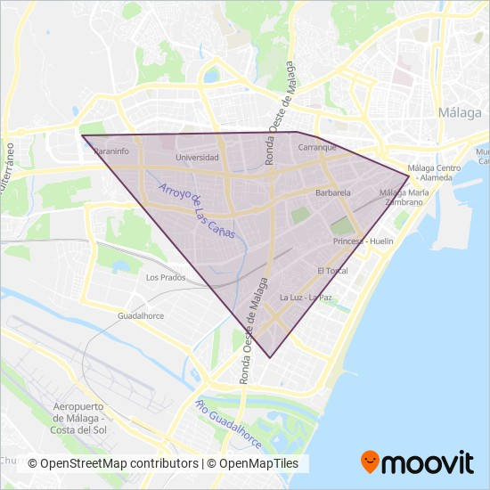Metro de Málaga Metro lines, Metro times in Malaga on map of dallas fort worth area, map of madrid area, map of orlando sanford area, map of nuremberg area, map of yokohama area, map of stockholm area, map of bangkok area, map of acapulco area, map of valencia area,