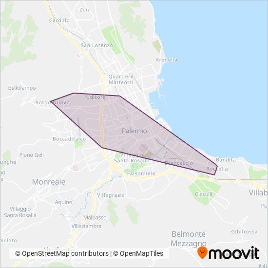 Area coperta dal servizio di AMAT Palermo S.p.A.
