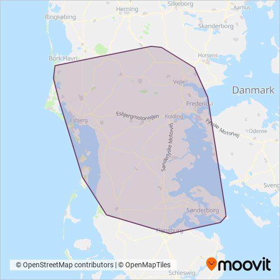 Sydtrafik coverage area map