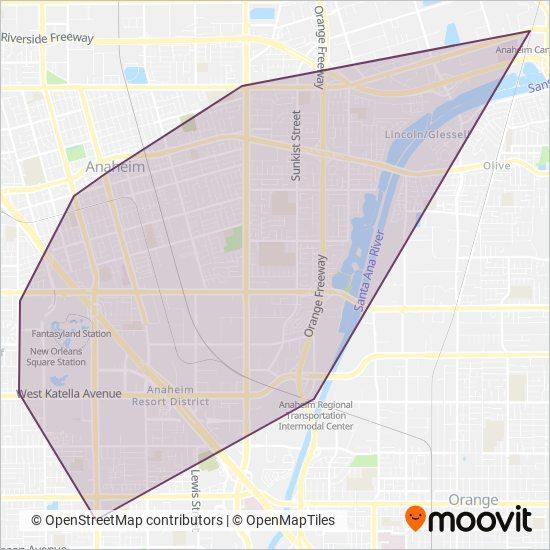 Anaheim Resort Transportation coverage area map