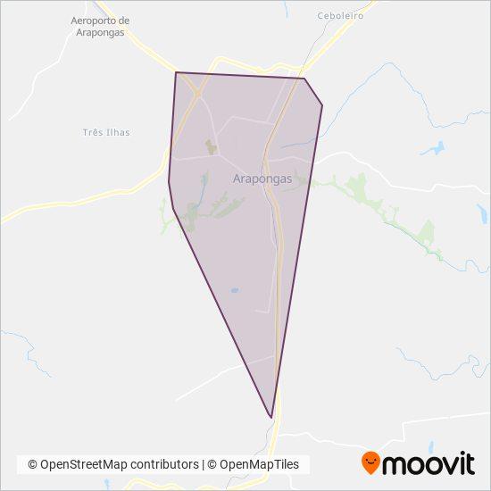 Mapa da área de cobertura da TUA - Transporte Urbano de Arapongas (Arapongas)