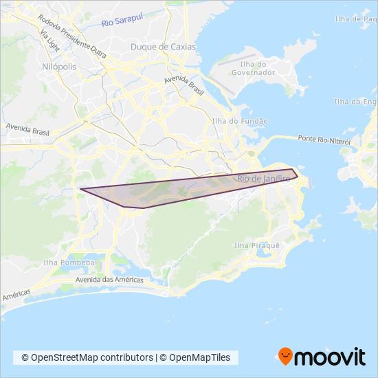 Mapa da área de cobertura da Consórcio TRANSCARIOCA (Frescão)
