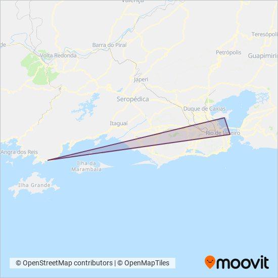Mapa da área de cobertura da Objetiva Tour
