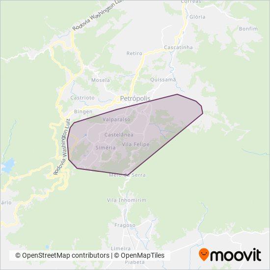 Mapa da área de cobertura da Petro Ita