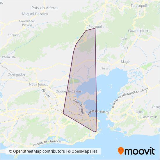 Mapa da área de cobertura da Viação Única-Fácil