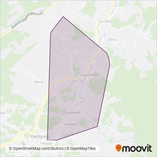 Mapa da área de cobertura da Cidade das Hortênsias