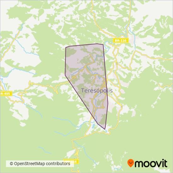 Mapa da área de cobertura da 1º de Março