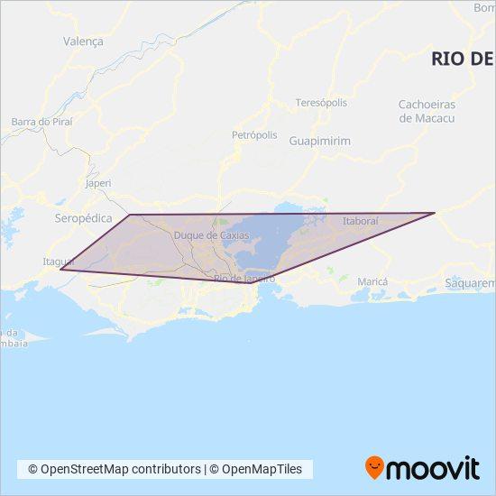 Mapa da área de cobertura da Serviço de Transporte Complementar (Vans)