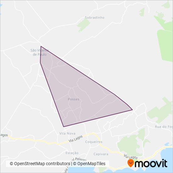 Mapa da área de cobertura da São Pedro